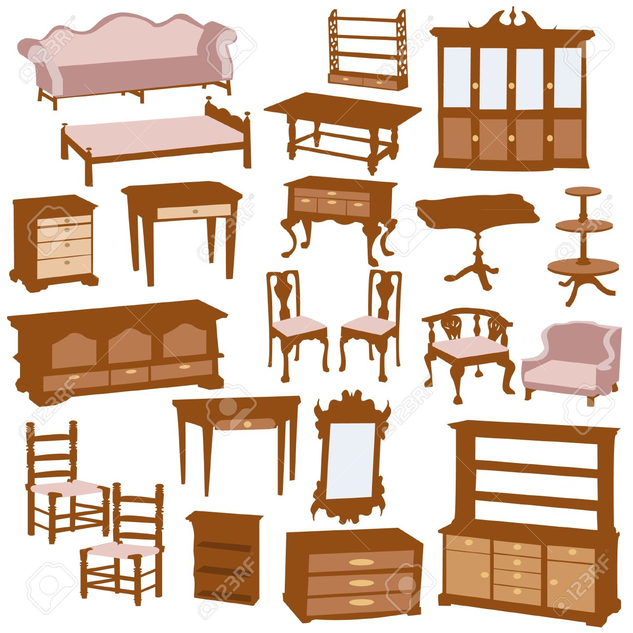 Furniture Clipart Wooden Illustration Stock Vector