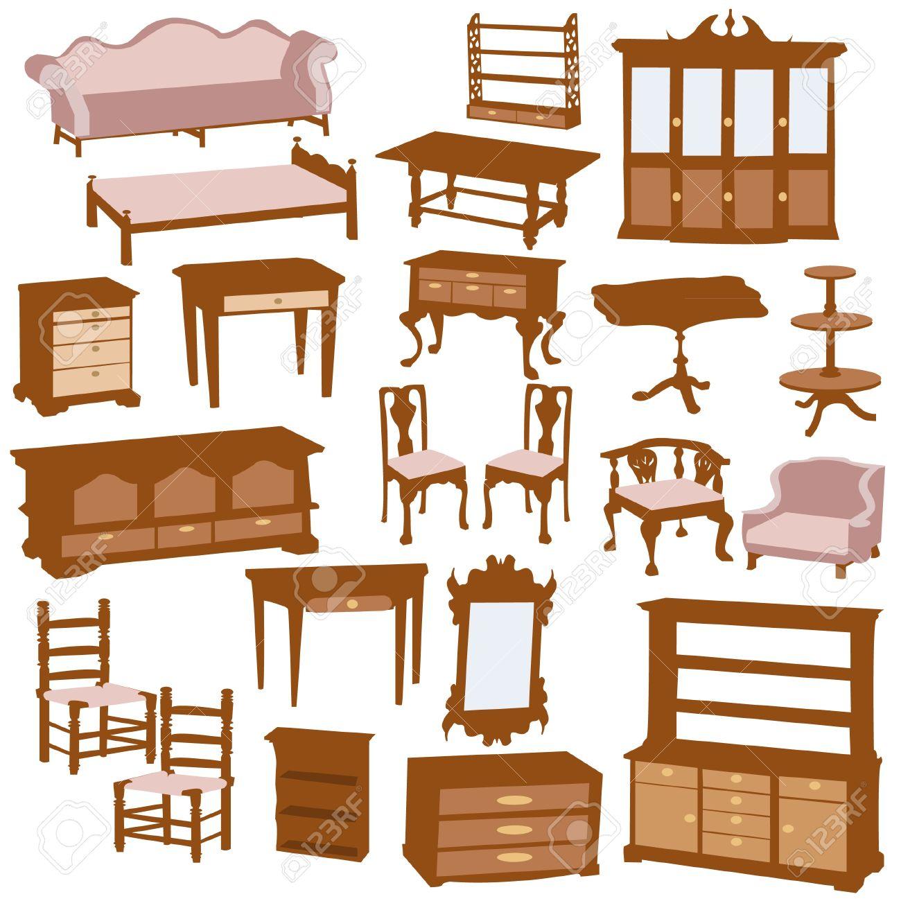 Furniture Clipart Wooden Illustration Stock Vector