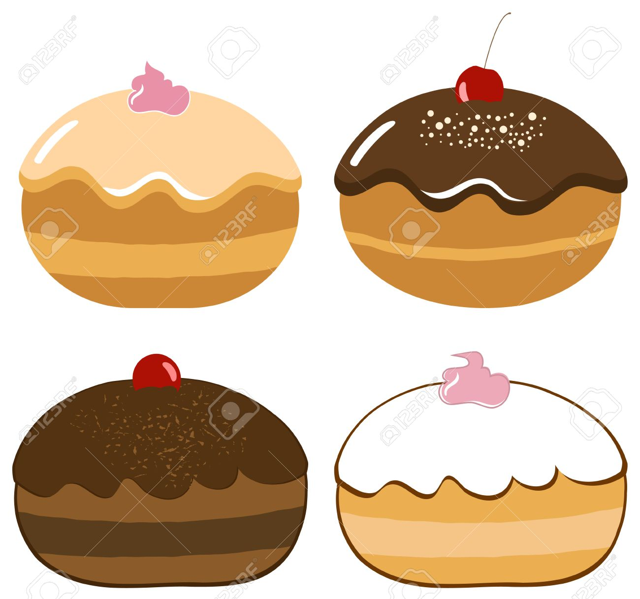 Vector Delicious Hanukkah Donuts Set Stock Vector - 5959099