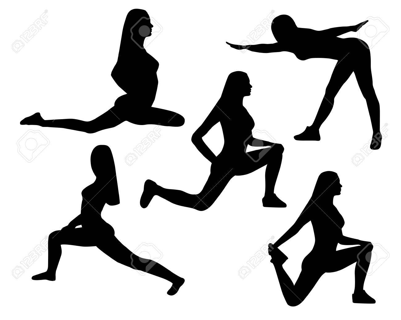 Black silhouettes of women in yoga poses and sport exercises isolated on a white background