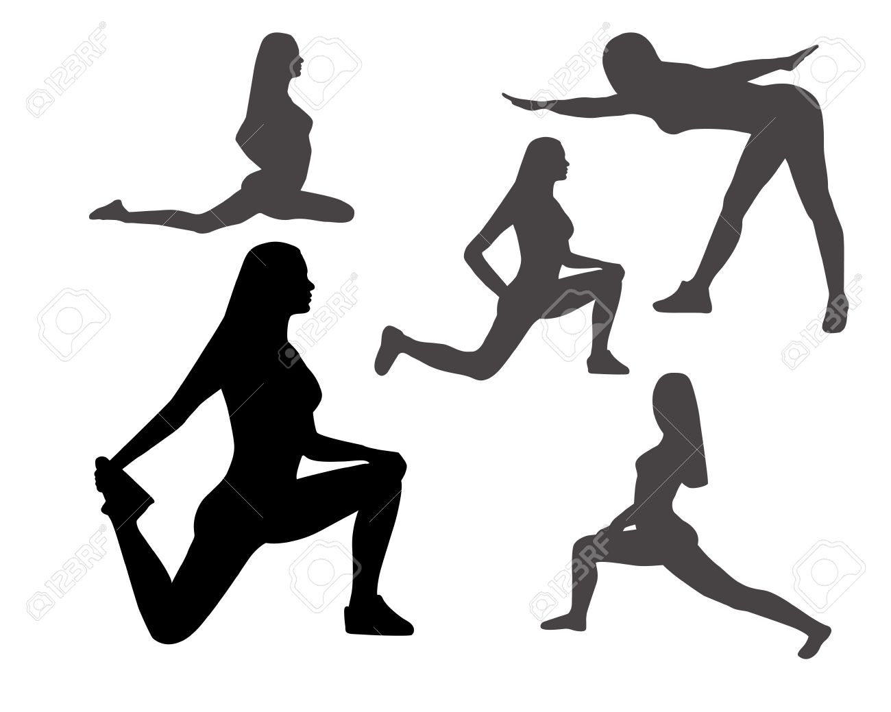 Black and grey silhouettes of women in yoga poses and sport exercises on a white background