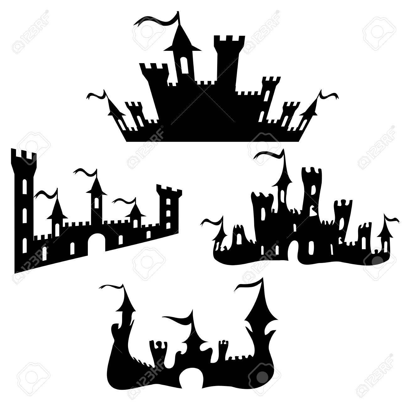 vector black castle silhouettes set on white background halloween rh 123rf com halloween vectors free halloween vector clipart
