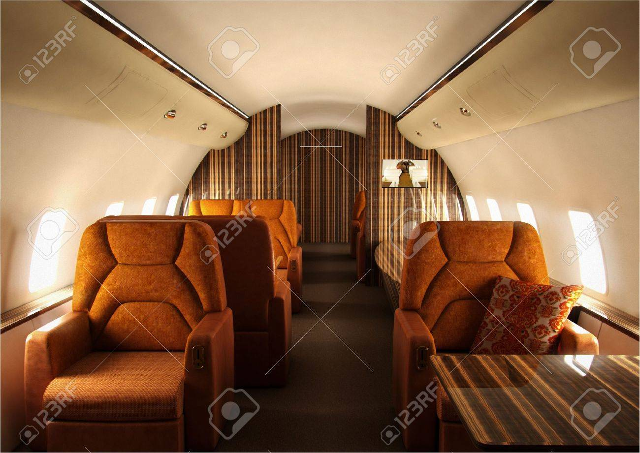 Private Plane Interior With Custom Design Stock Photo Picture And