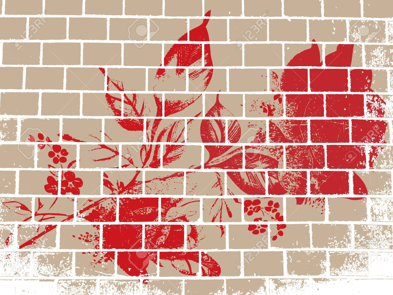 Abstract vector background with a rose on the wall in the grunge style Stock Vector - 11659718