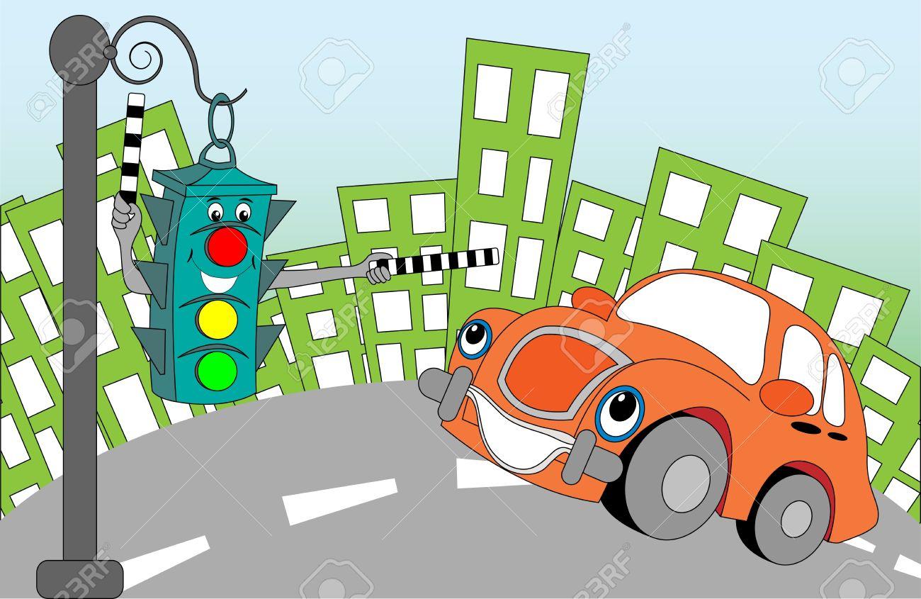 Cheerful cartoon traffic light regulating traffic on city streets Stock Vector - 11659636