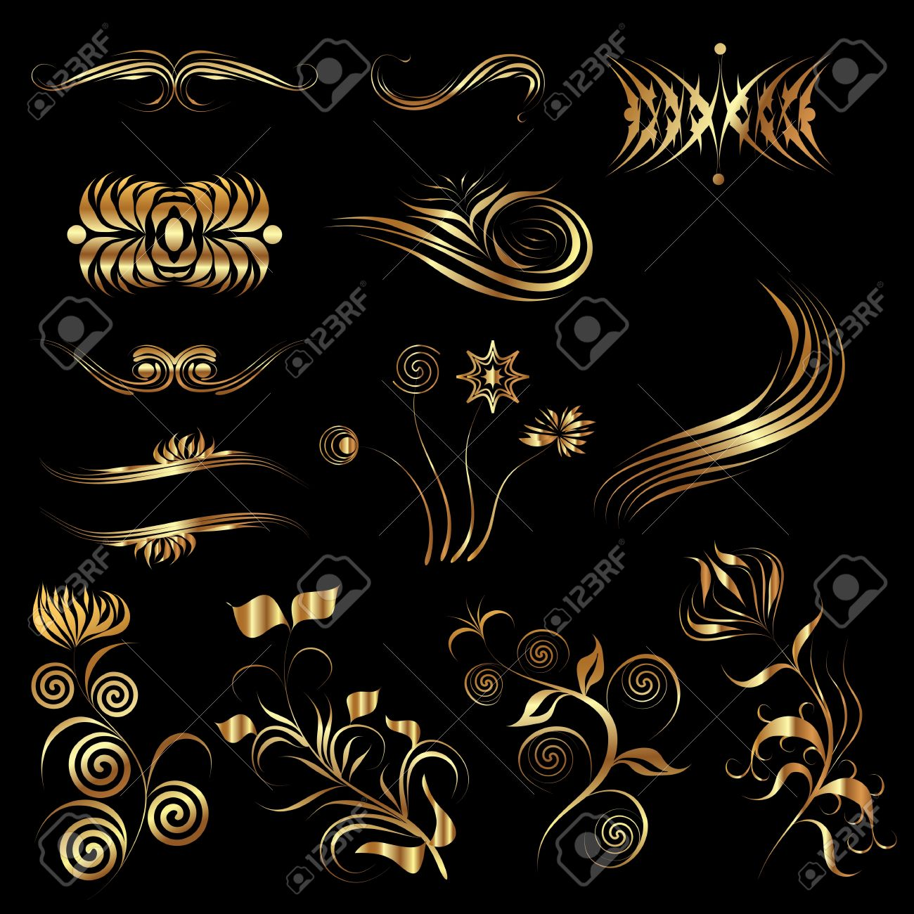 A set of vector floral design elements on a dark background Stock Vector - 11785153