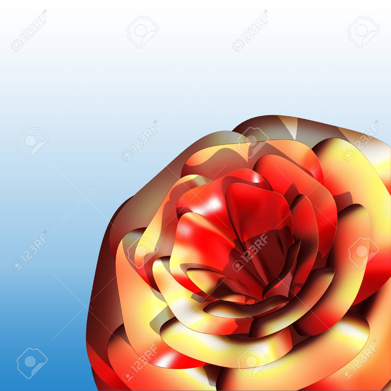 Celebratory background with a red rose close-up 3d Stock Photo - 11875978
