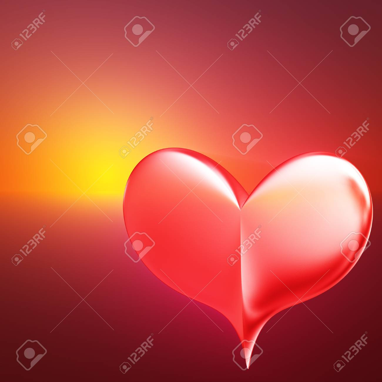 An abstract illustration with heart against the setting sun Stock Illustration - 11876019