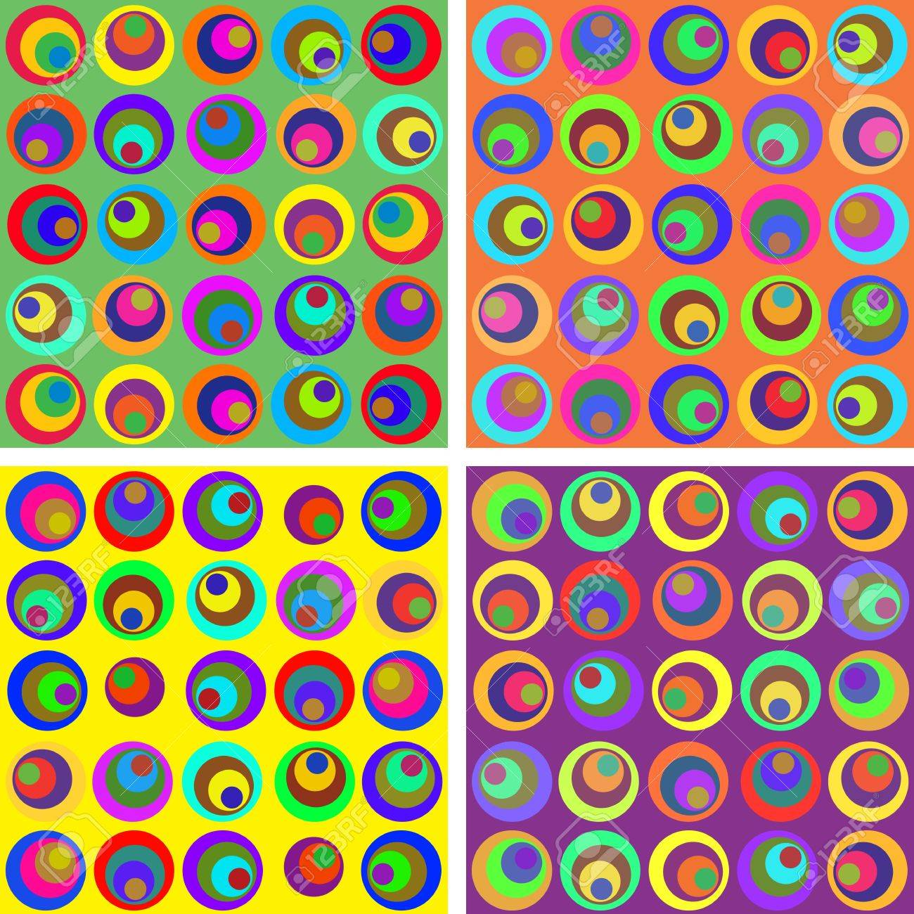 Seamless pattern with colored circles in four colors Stock Vector - 12370018