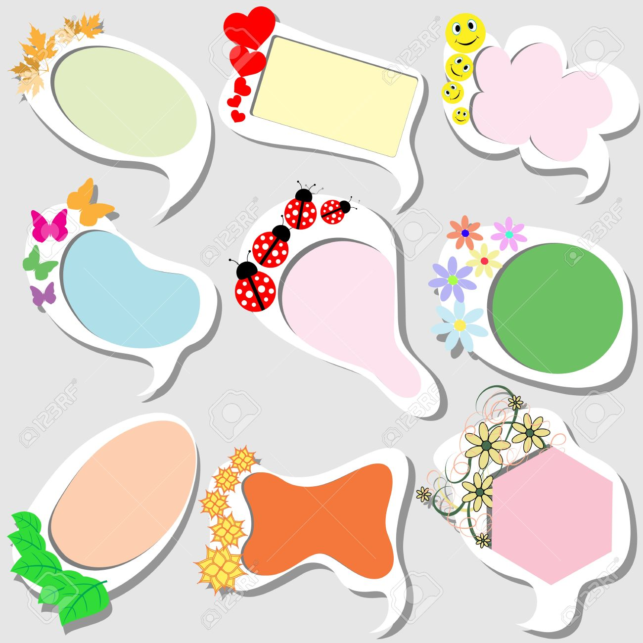 Funny Colored Frames In A Children\'s Style Royalty Free Cliparts ...