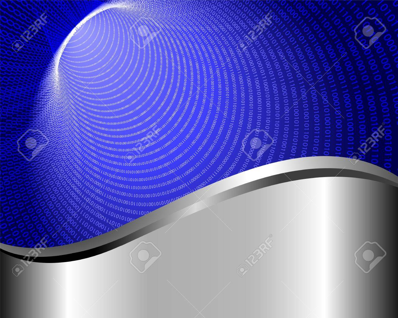Abstract background with blue binary tunnel Stock Vector - 15467907
