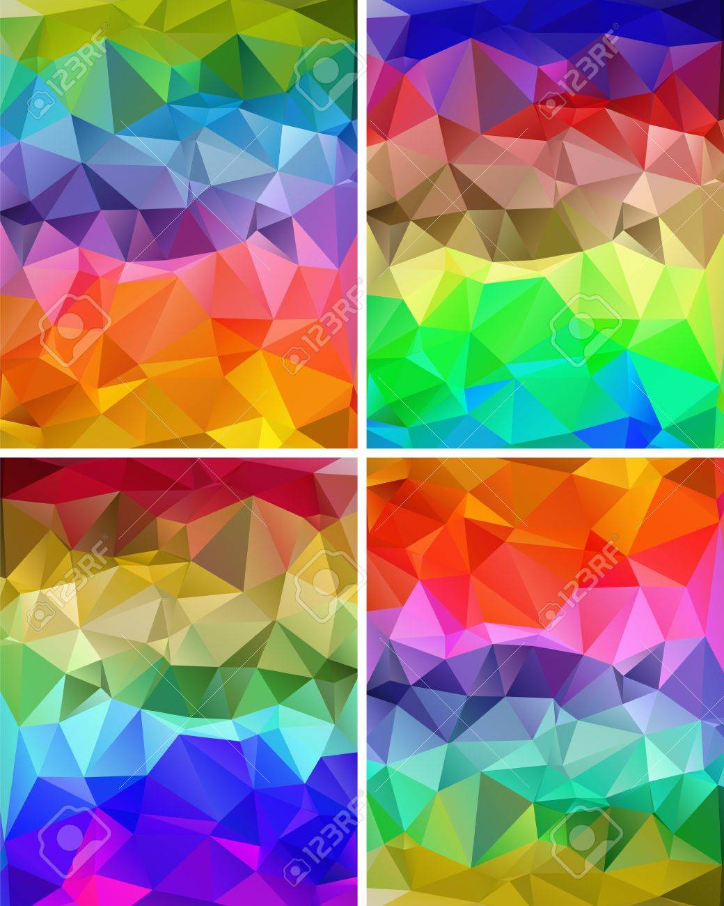 Set of colorful abstract backgrounds polygon for your design Stock Vector - 18380892