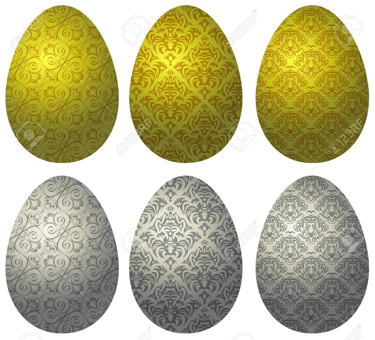 Set of gold and silver Easter eggs with pattern on white background Stock Vector - 18380935