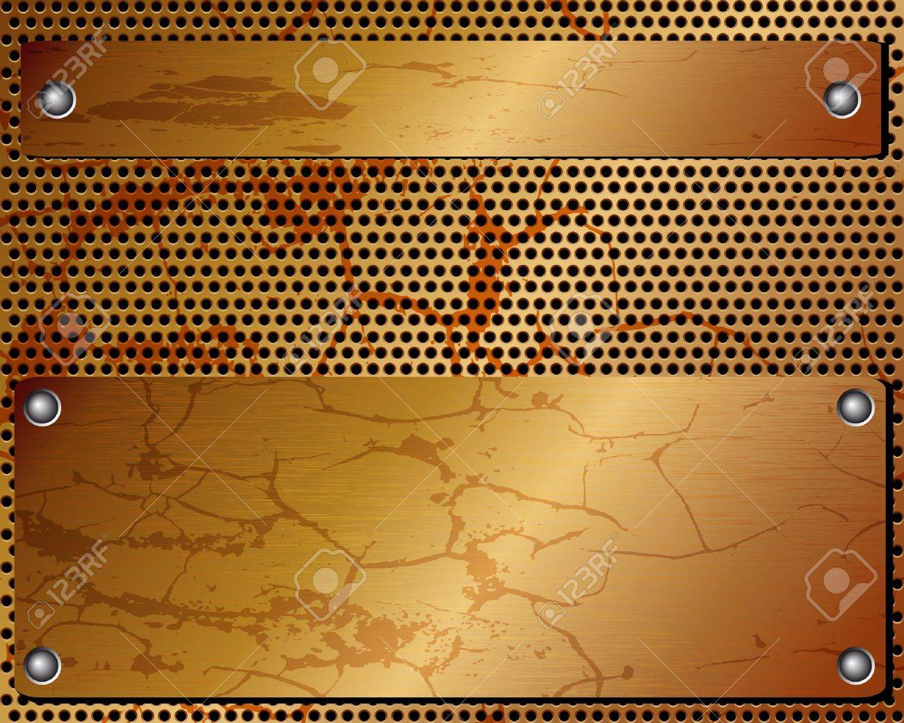 Metallic black background with grid and plate with rivet Stock Vector - 19241351