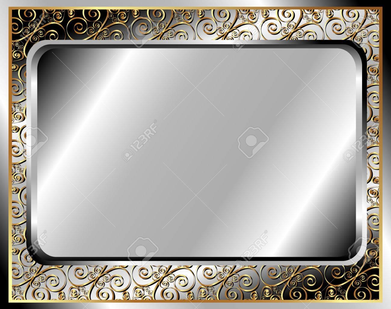 Marco Del Metal Con El Ornamento De Oro Para Su Diseño Ilustraciones ...