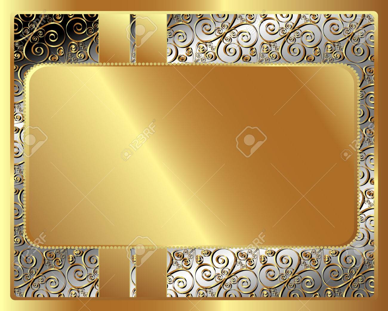 Marco Del Metal Con El Patrón Con La Placa De Oro Para Su Diseño ...