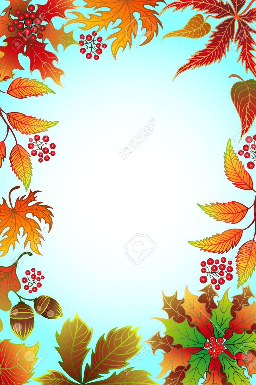 Herbst Hintergrund Mit Ahornblatter Und Rahmen Fur Foto Mit Platz