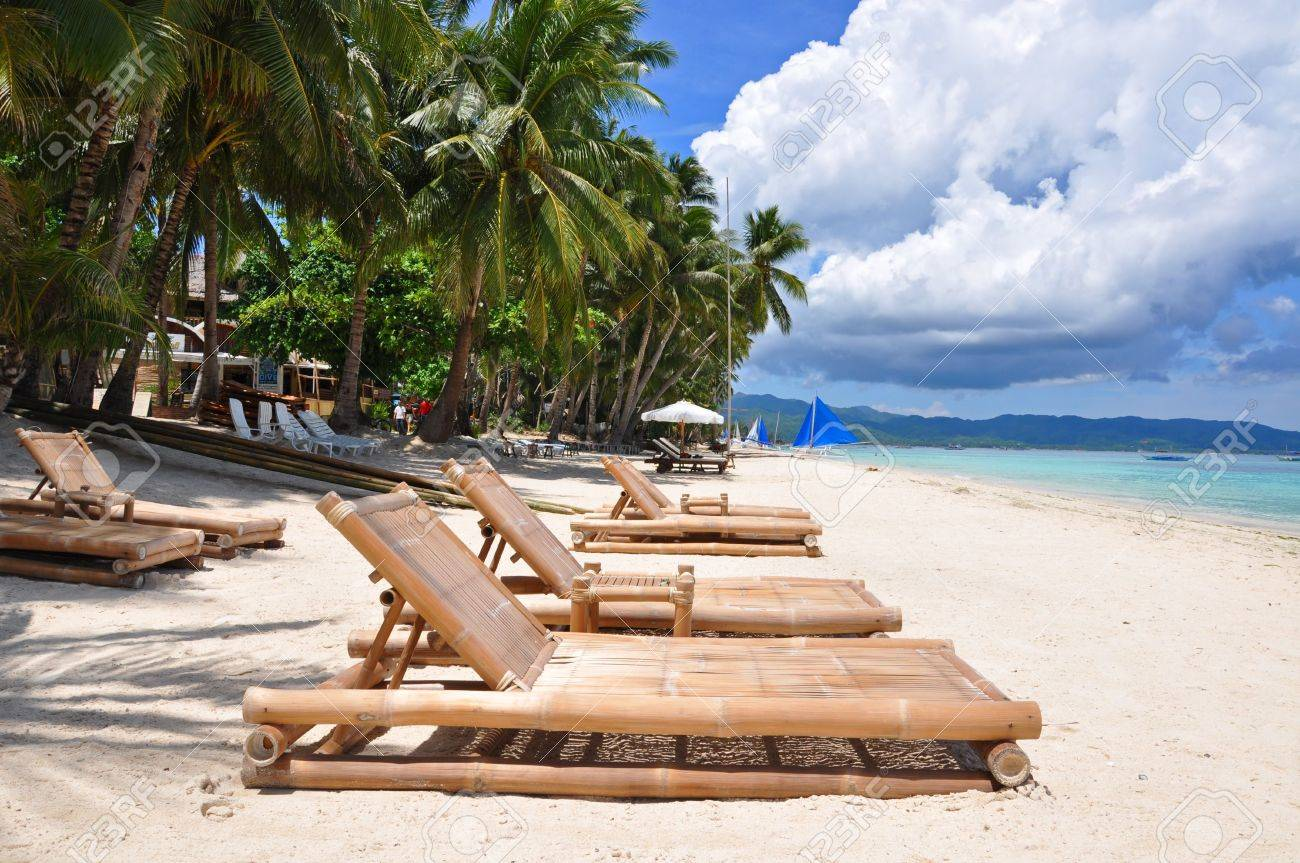 Bon Beach Chairs On Perfect Tropical White Sand Beach In Boracay, Philippines  Stock Photo   7430515