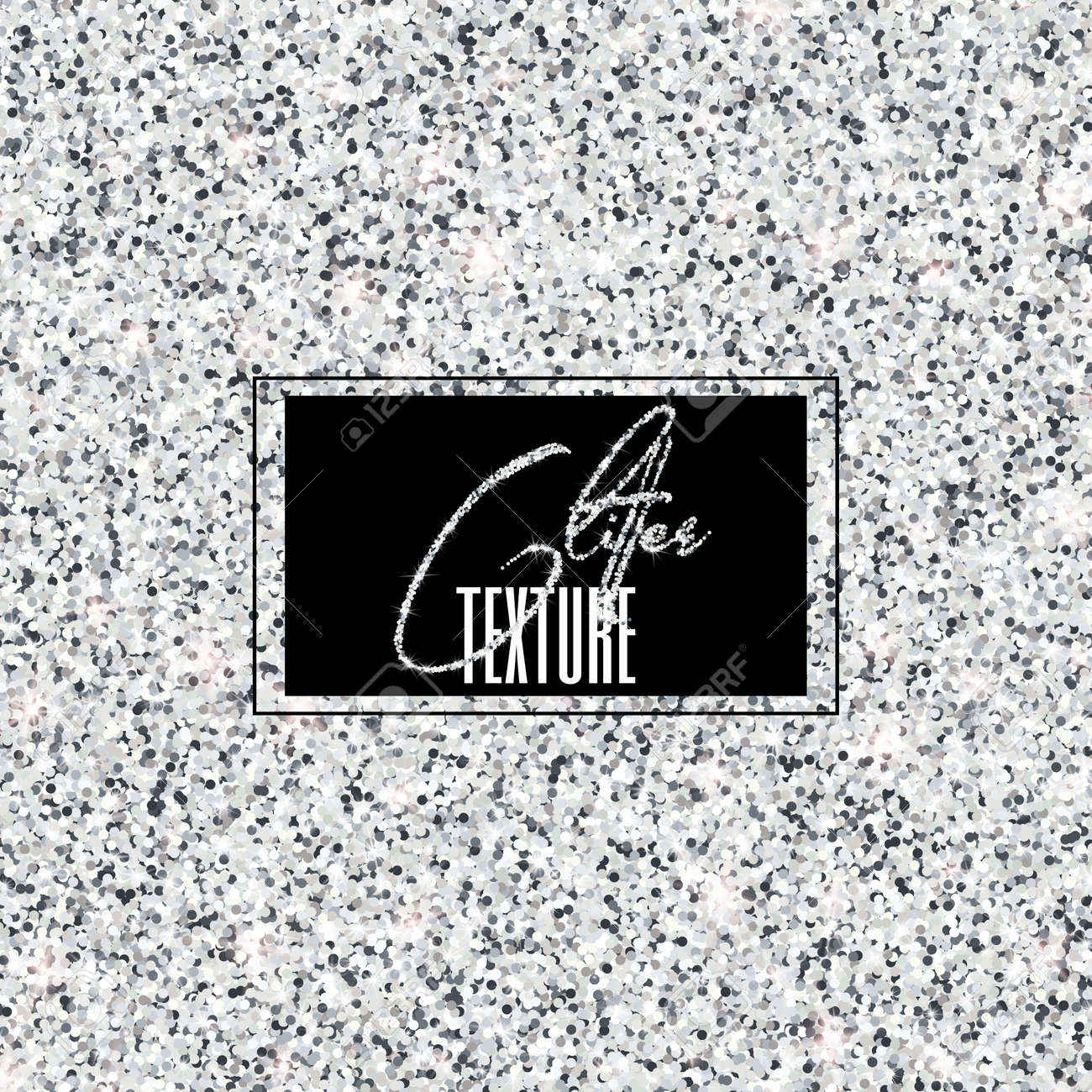 High resolution glitter texture. Shimmer and shining silver vector background for festive design, selebration and decoration. - 169838170