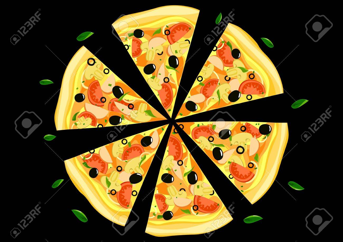 Pizza on black background Vector Stock Vector - 17610153