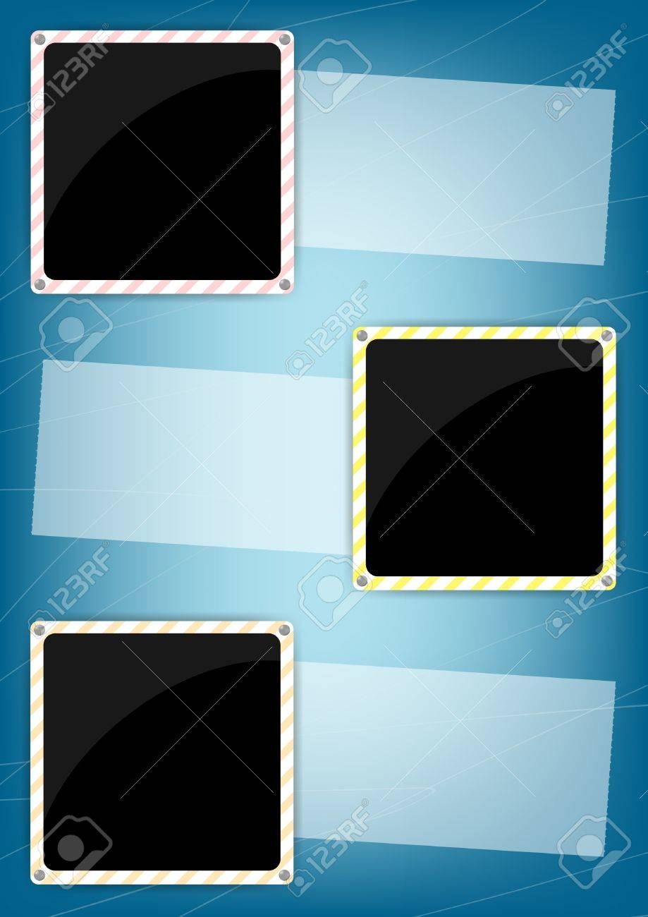 Vertical blue vintage background and three graphic elements with place for text, image or photo Stock Vector - 18093227