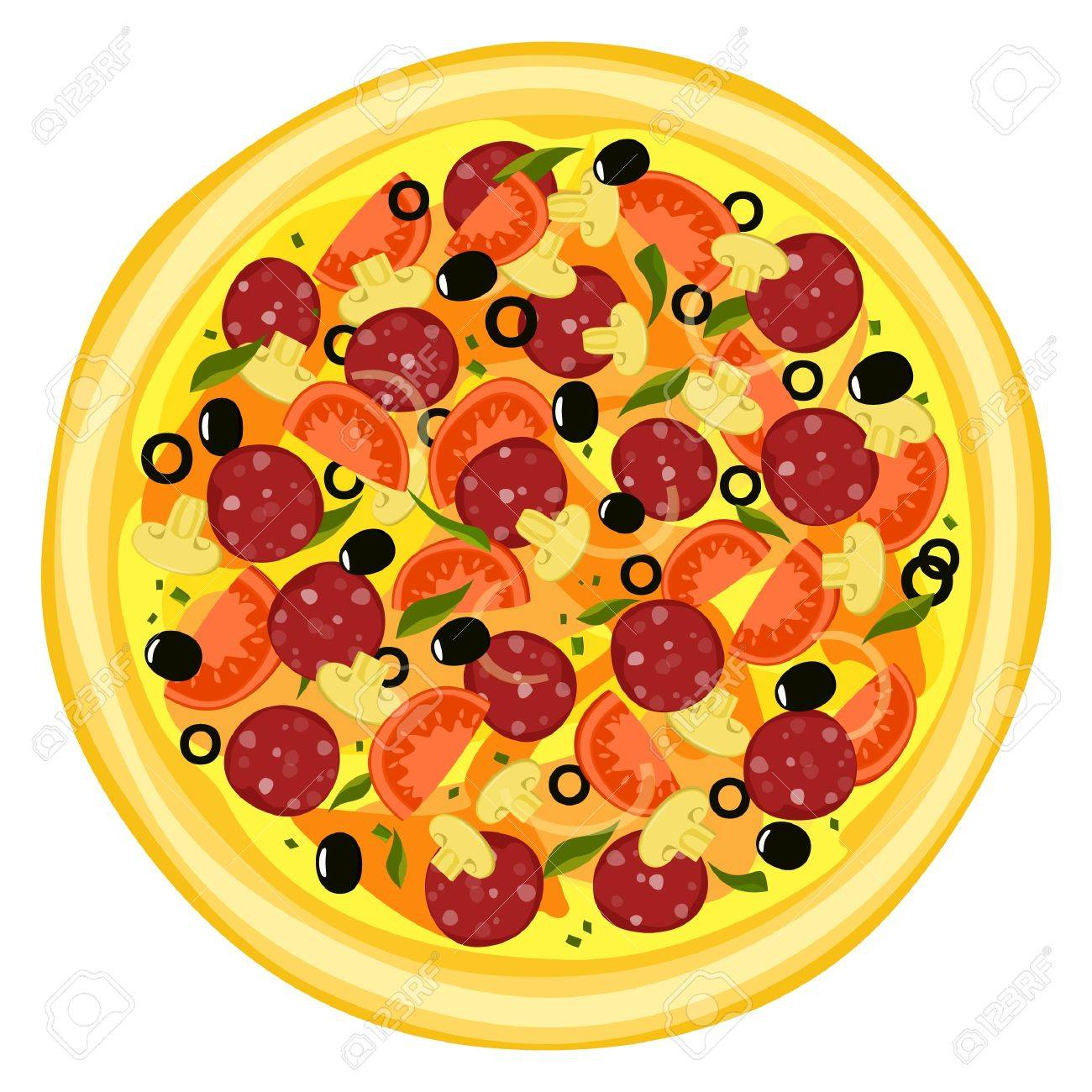 Pizza isolated with sausage on white background Stock Vector - 18404738