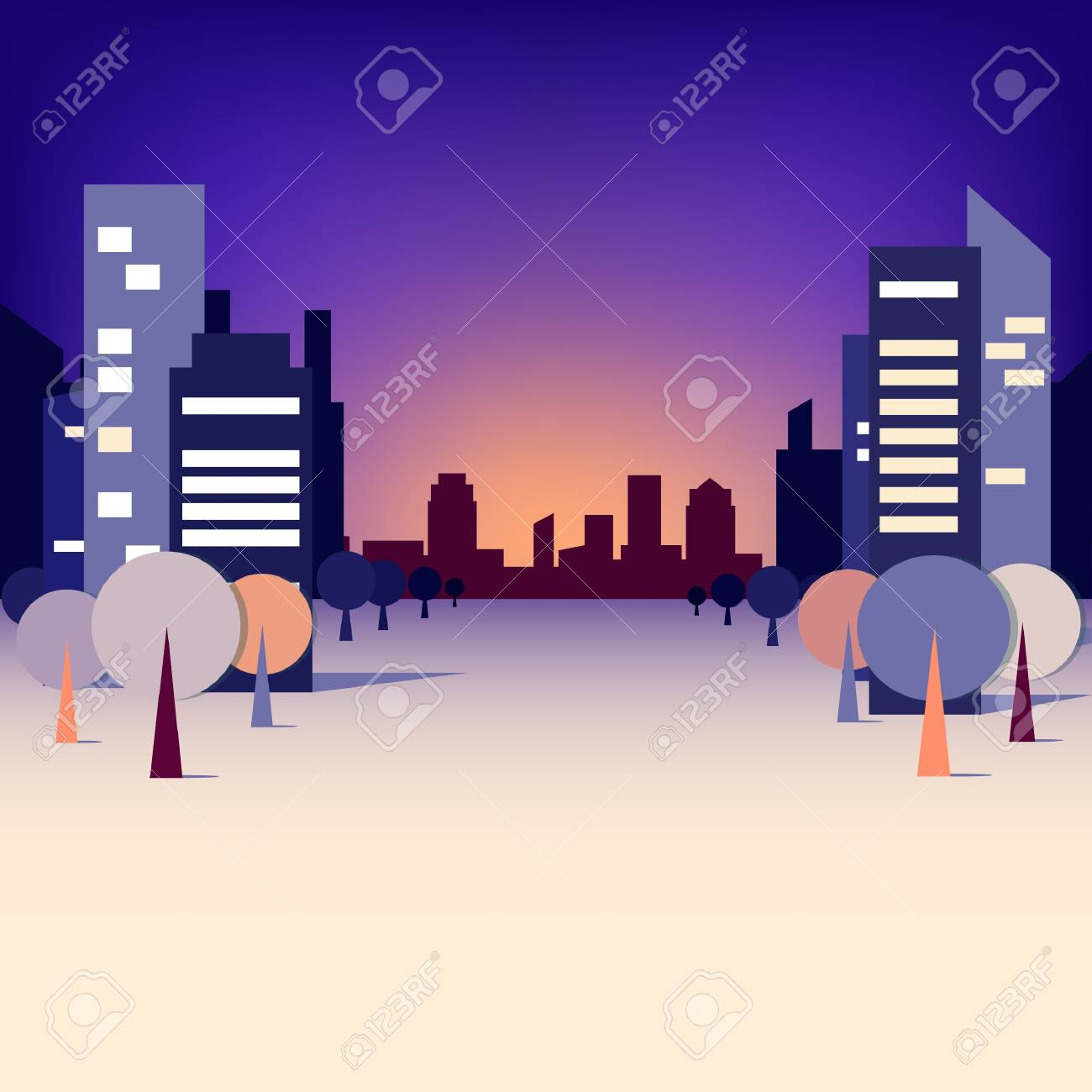 City landscape with trees and skyscrapers Stock Vector - 18787016