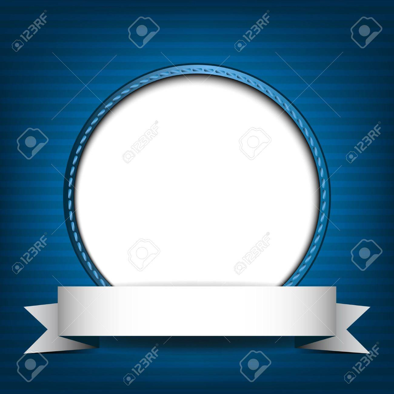 White circle with place for text or image on blue striped background Stock Vector - 18854564