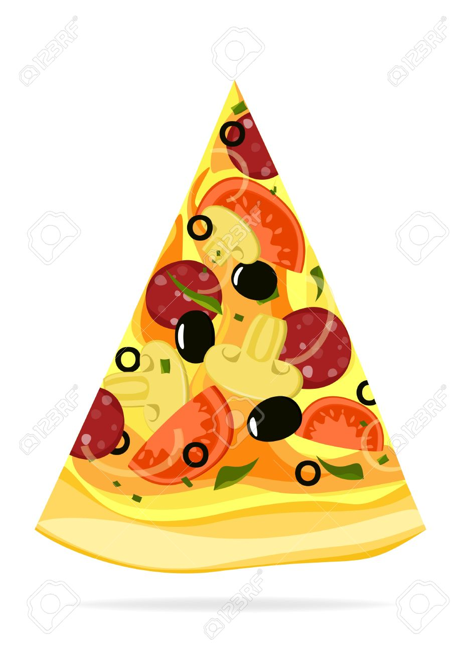 Pizza slice isolated on white background Stock Vector - 19021482