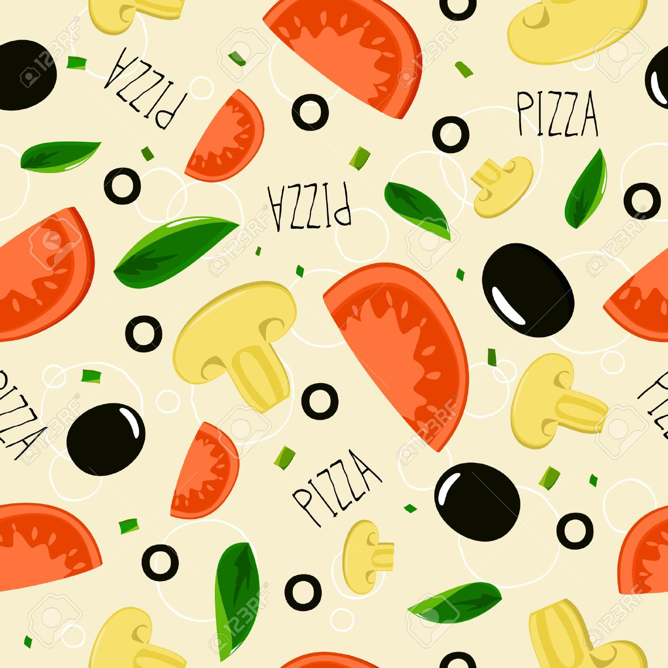 Pizza pattern on beige background Stock Vector - 22955936