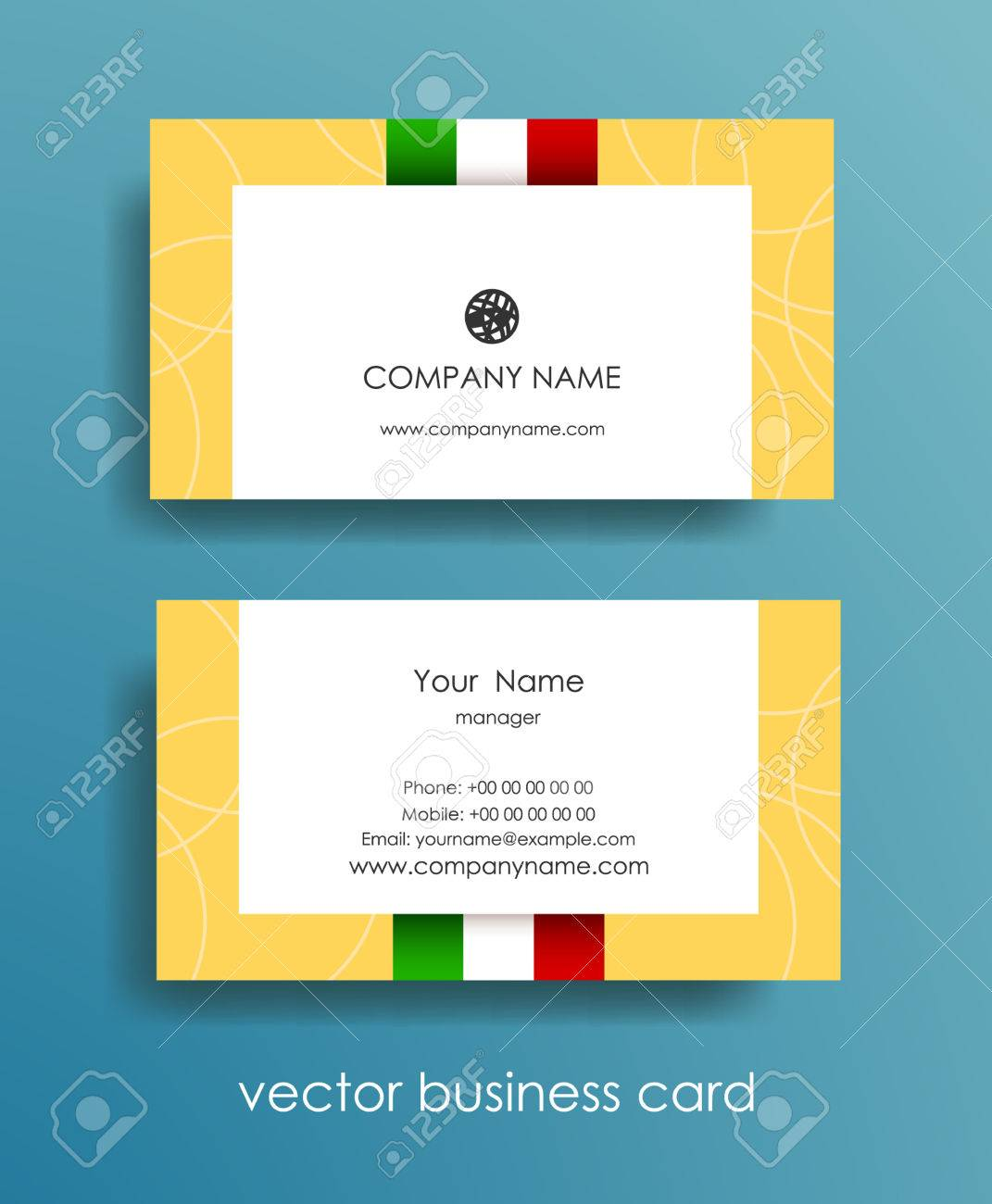 Set of light horizontal business cards with italian flag on beige set of light horizontal business cards with italian flag on beige background stock vector colourmoves