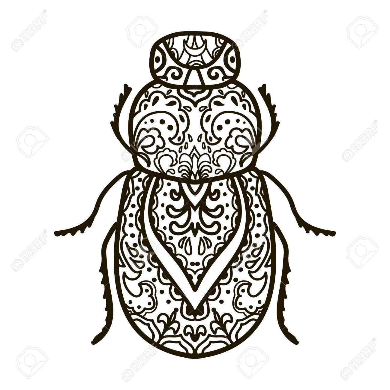 Escarabajo. Animales. Dibujado A Mano Doodle Del Insecto ...