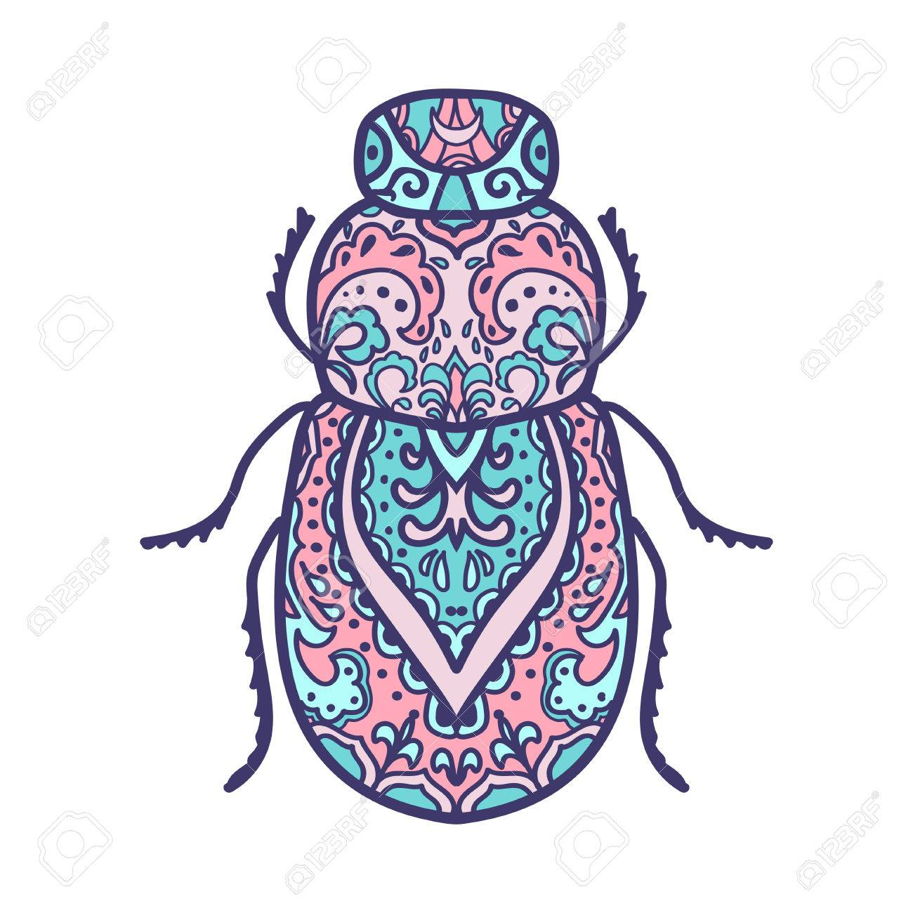 Scarab Beetle. Animals. Hand Drawn Doodle Insect. Ethnic Patterned Vector  Illustration. African