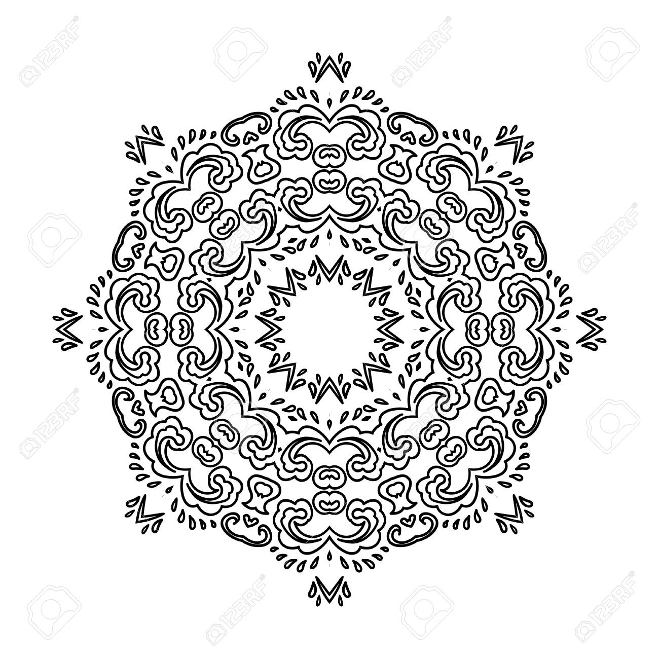 Decorative round lace ornate mandala. Coloring book for adults...