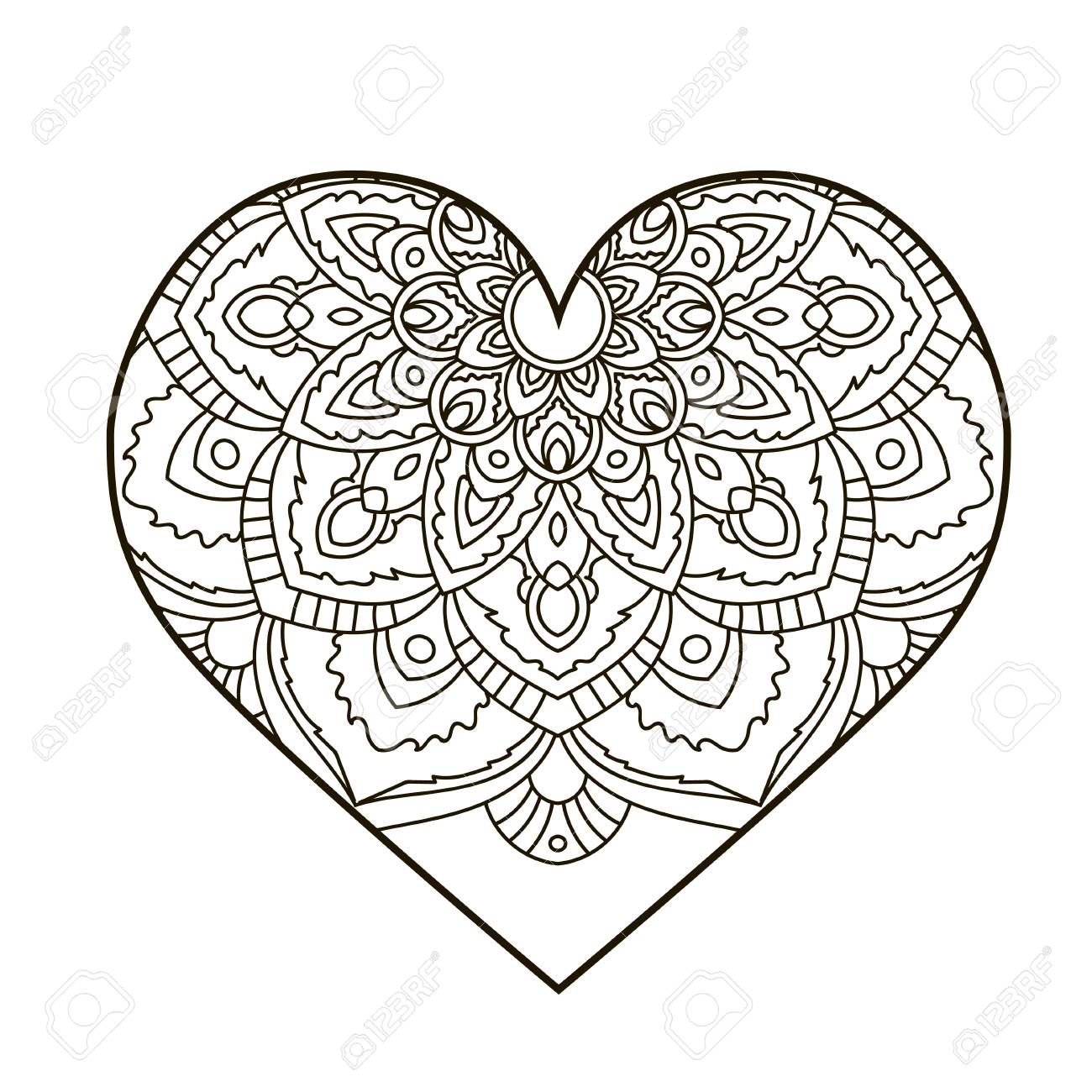 Corazón Con Mandala Floral. Elementos Decorativos De La Vendimia ...