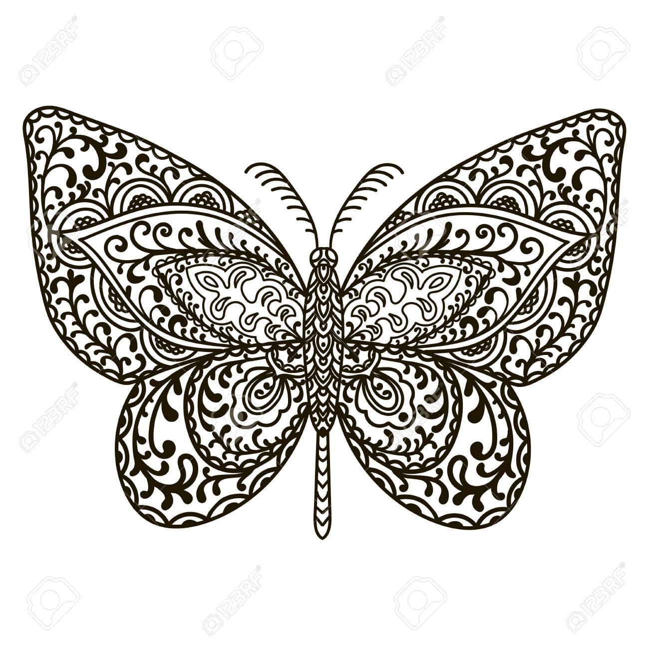 Mariposa. Animales. Dibujado A Mano Doodle Insecto. Ilustración ...