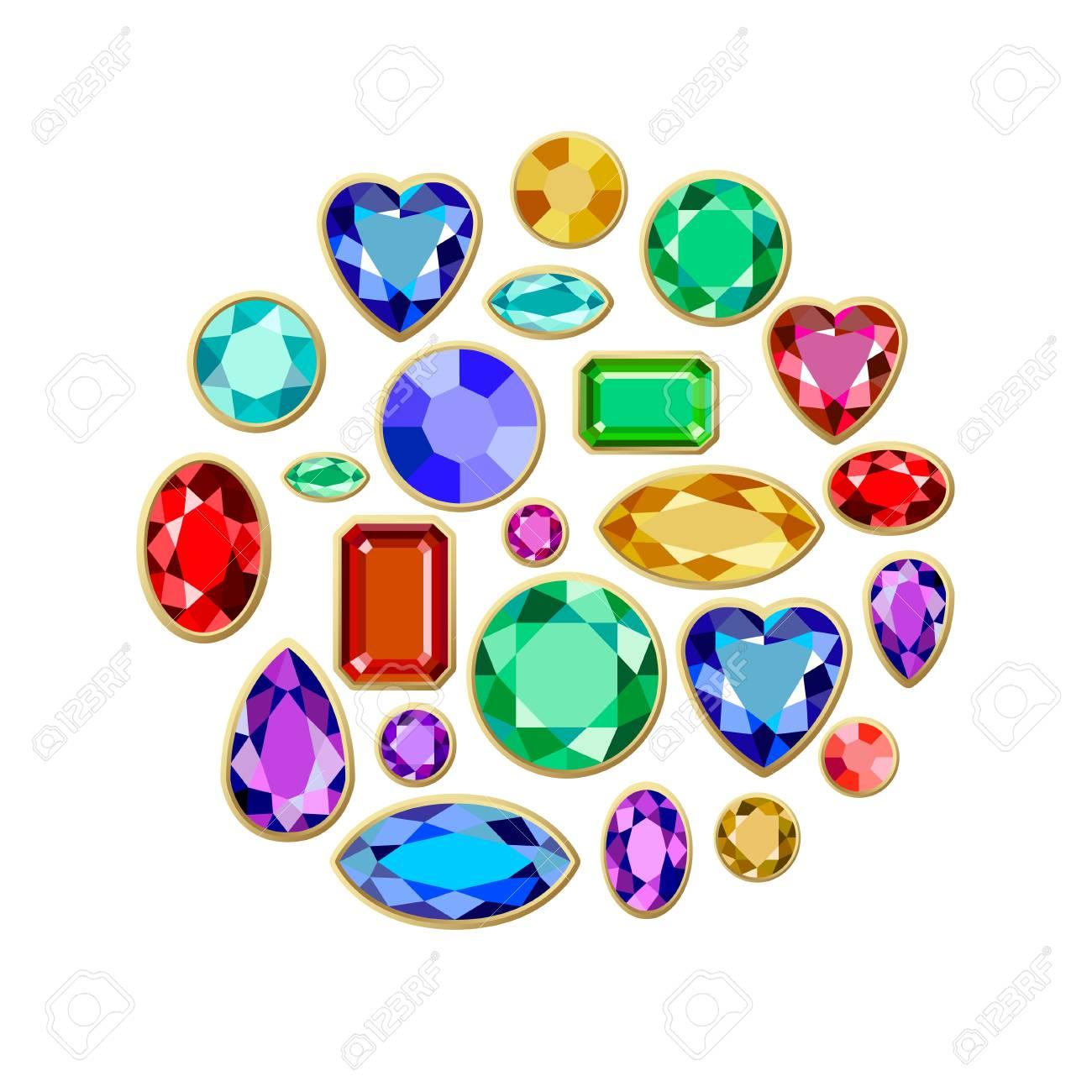 4a22d40526a1 Conjunto de joyas realistas. Piedras preciosas coloridas. Ilustración  vectorial de piedras preciosas
