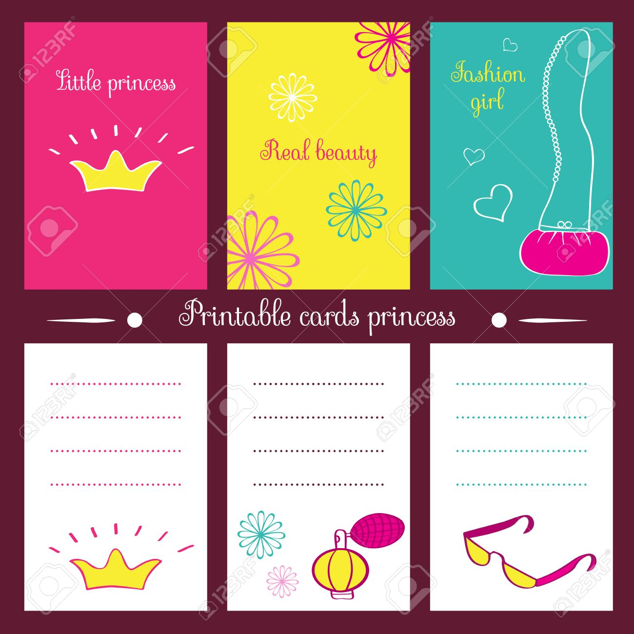 photo about Printable Notepads titled Printable playing cards princess. By yourself can print playing cards, notepads and a..