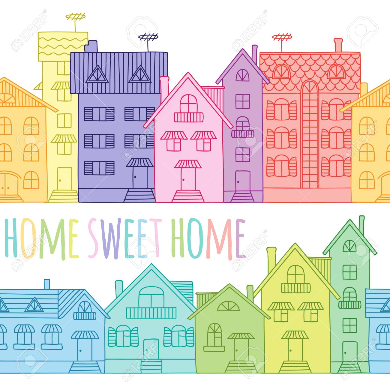 Colorful Houses Are Situated In A Line And Form A Seamless Pattern ...