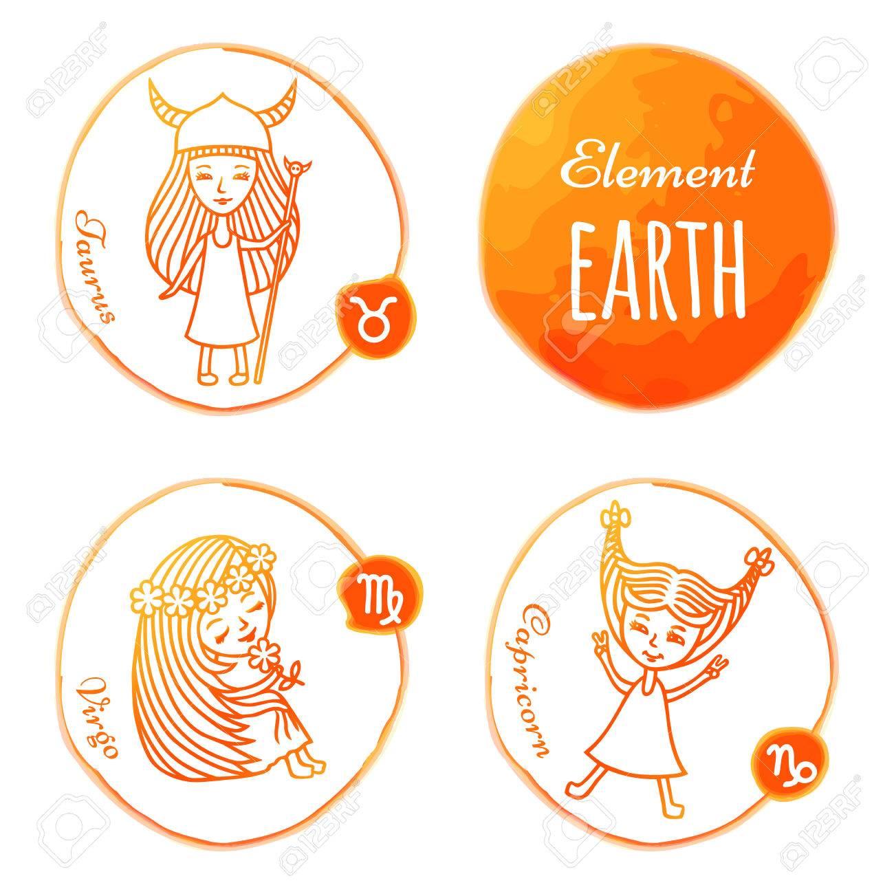 Horoskop Set Von 3 Sternzeichen Der Elemente Der Erde Stier