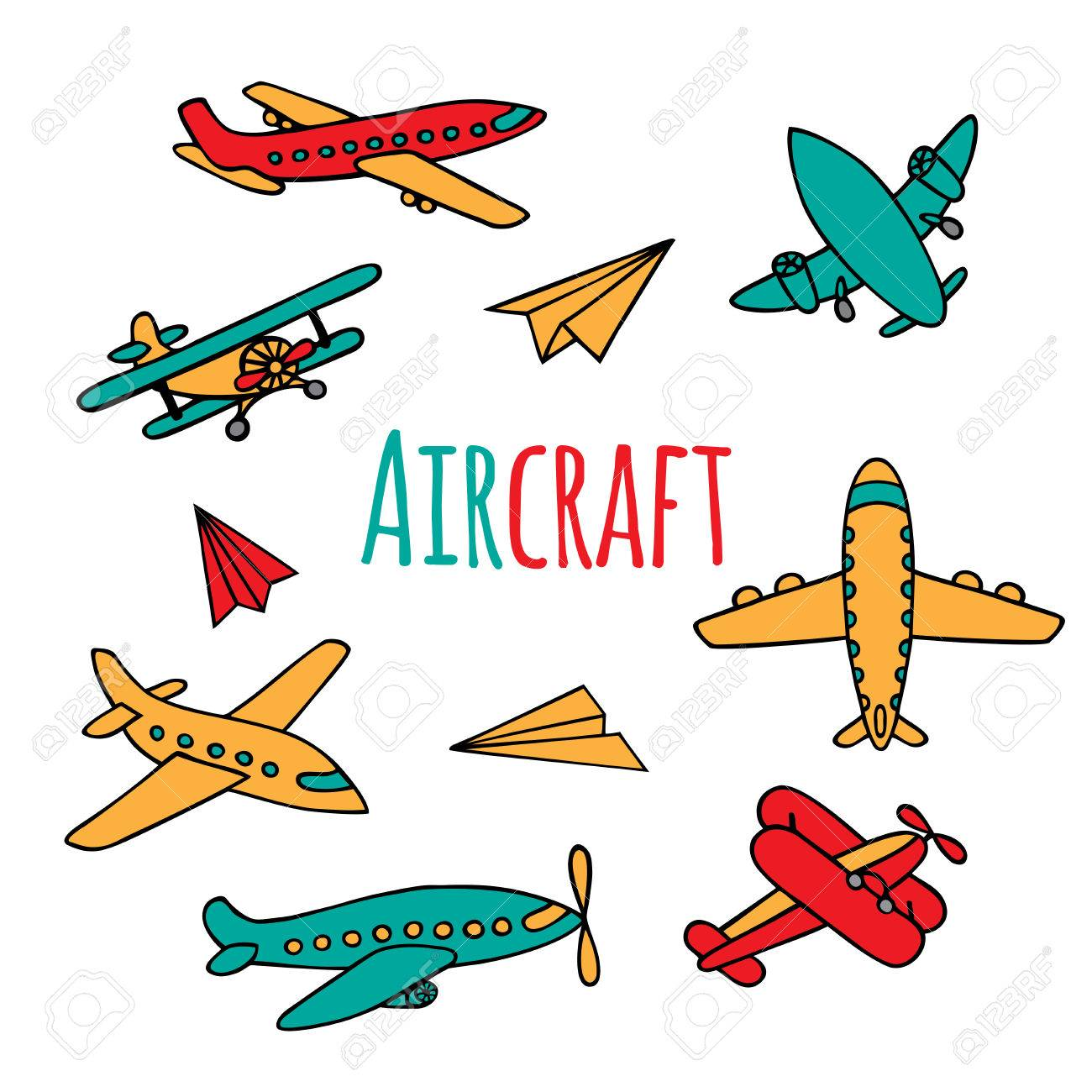 Conjunto De Aviones. Colores Brillantes De Aviones En Doodle Estilo ...