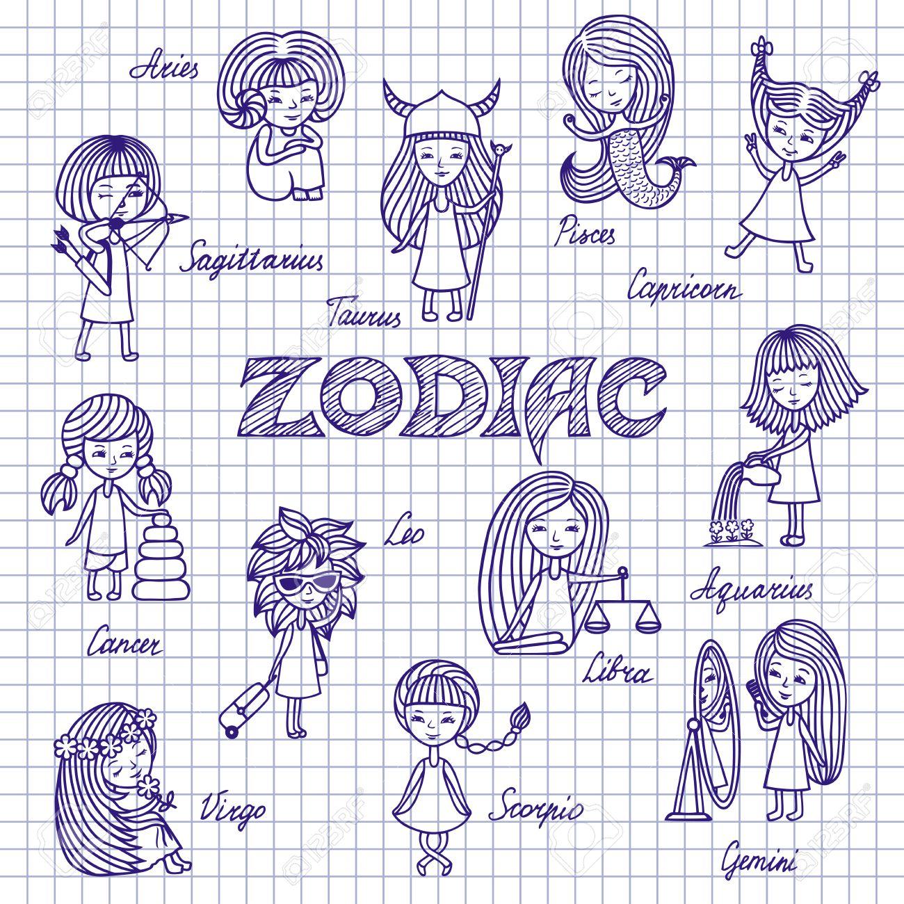 Funny Zodiac Signs, Cartoon Horoscope, Doodles. Set Of Twelve ...
