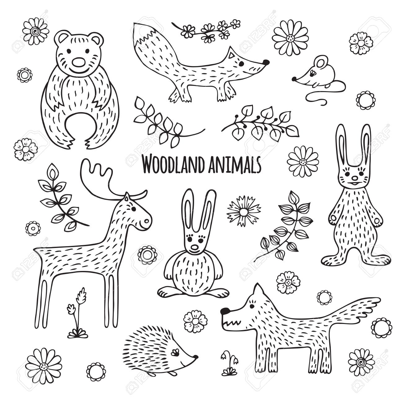 Cute set of woodland animals in cartoon style black and white