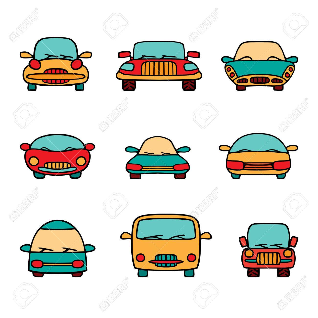 Vector Set Of Cartoon Cars Color Transport Hand Drawn Stock