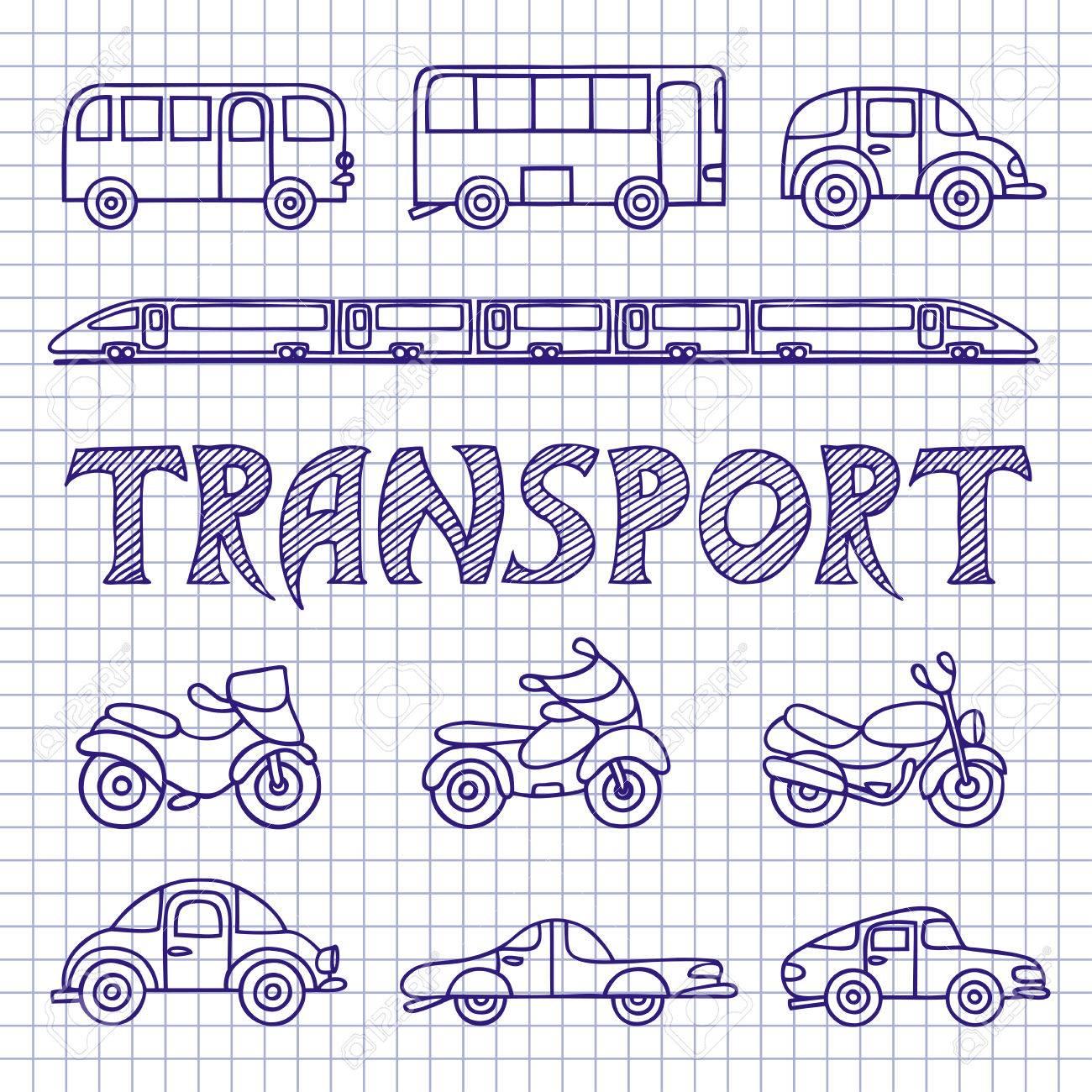 Conjunto De Dibujos De Transporte Terrestre Coches Autobuses