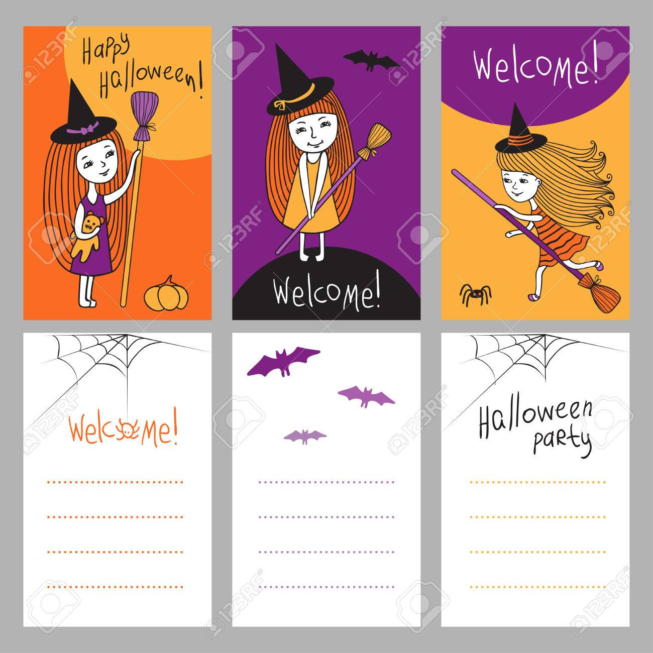 Cute Characters Halloween. Print Templates Set. Little Witch ...