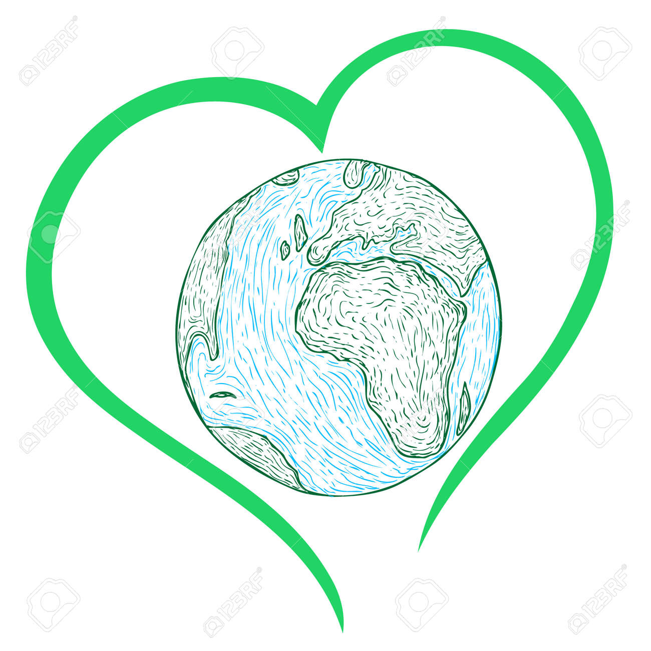 hand-drawn earth strokes with green heart around - 165925780