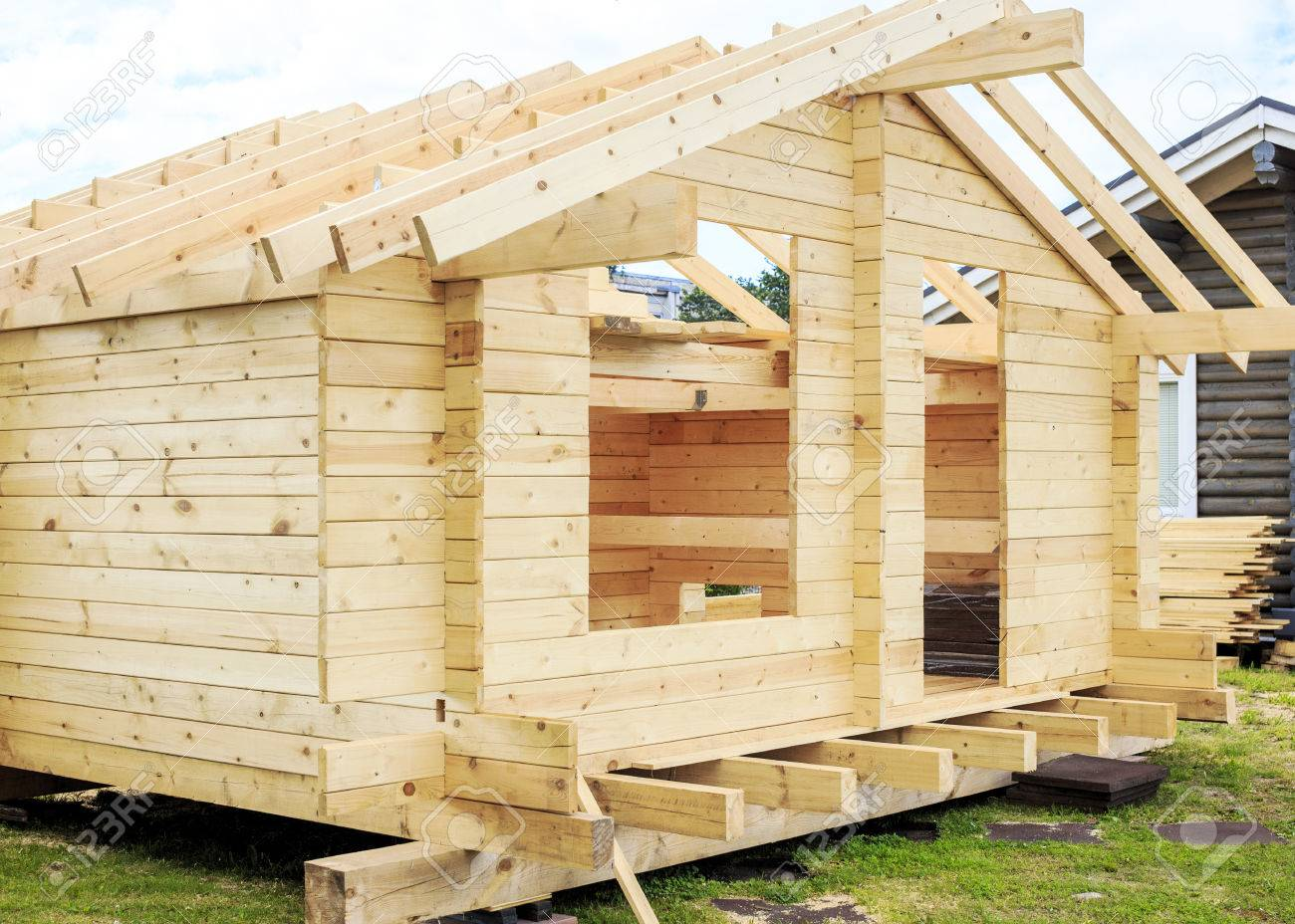 Building New Construction Of A Small Wooden House Stock Photo Picture And Royalty Free Image Image 45883643