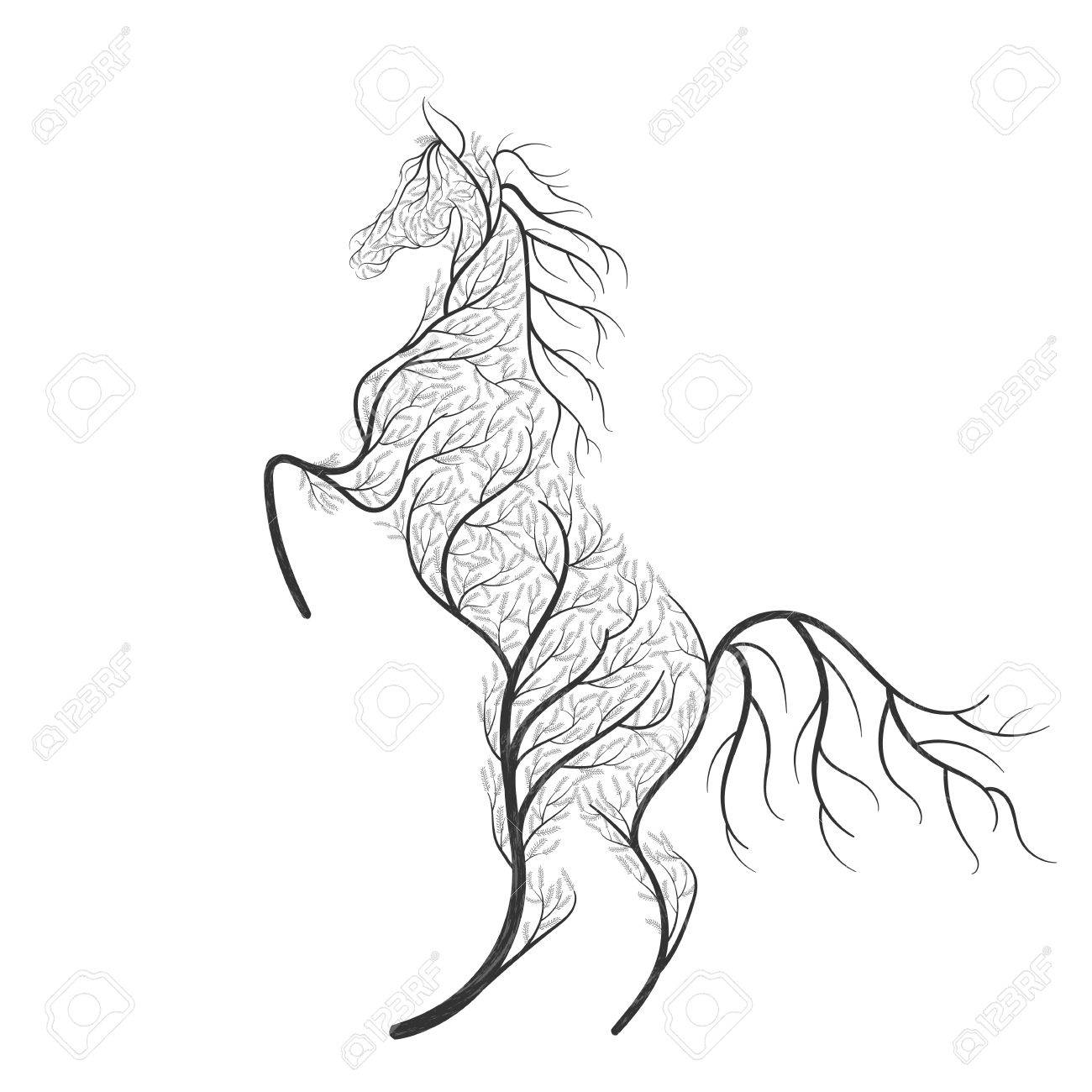 Concept Horse Jumping Stylized Bush Royalty Free Cliparts Vectors And Stock Illustration Image 77768771