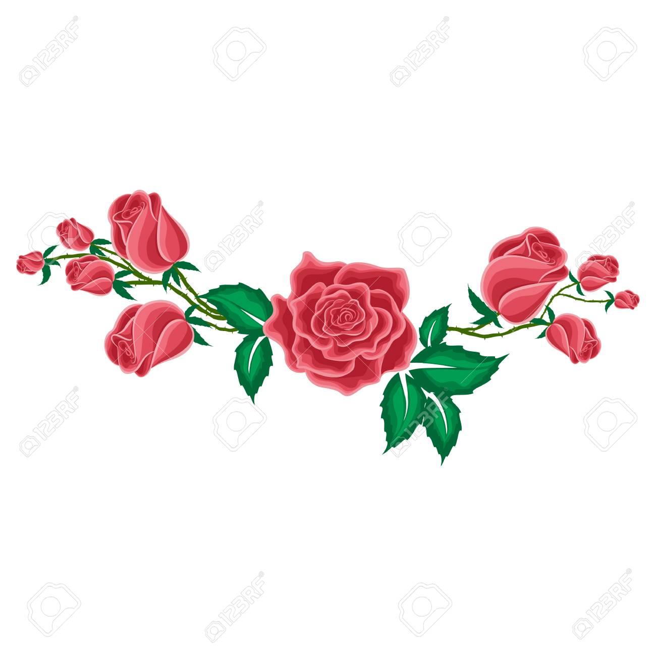 rosa roja y capullos de rosas en estilo de dibujos animados para